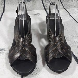 Clarks Shoes - Clarks Women's Black Leather Slingback Sandals 5
